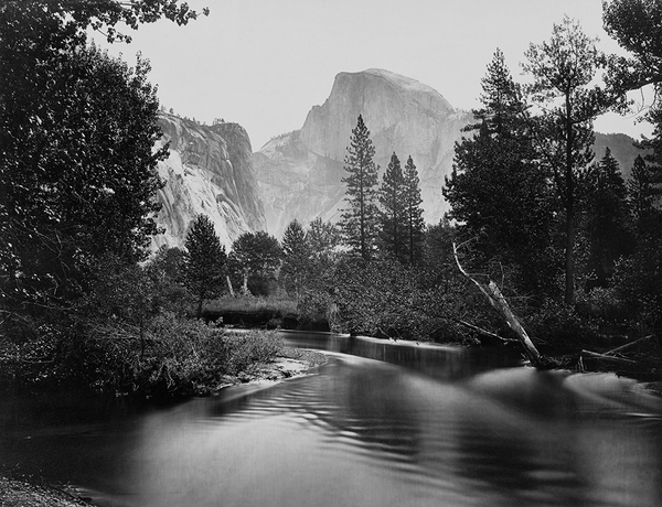 Stream and trees with Half Dome in background, Yosemite Valley, Calif.