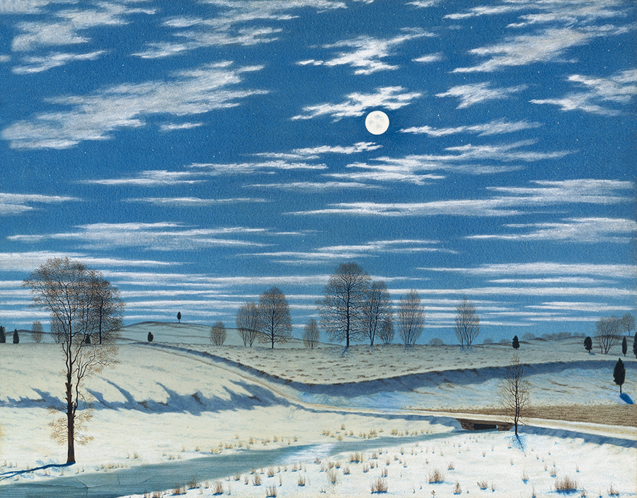 Winter Scene in Moonlight