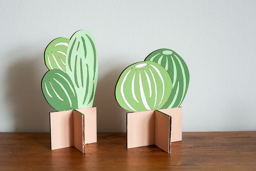 SR Flat Plants, Small Cactus Set of 2