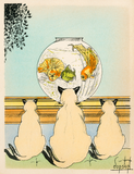Three cats watching fish in an aquarium