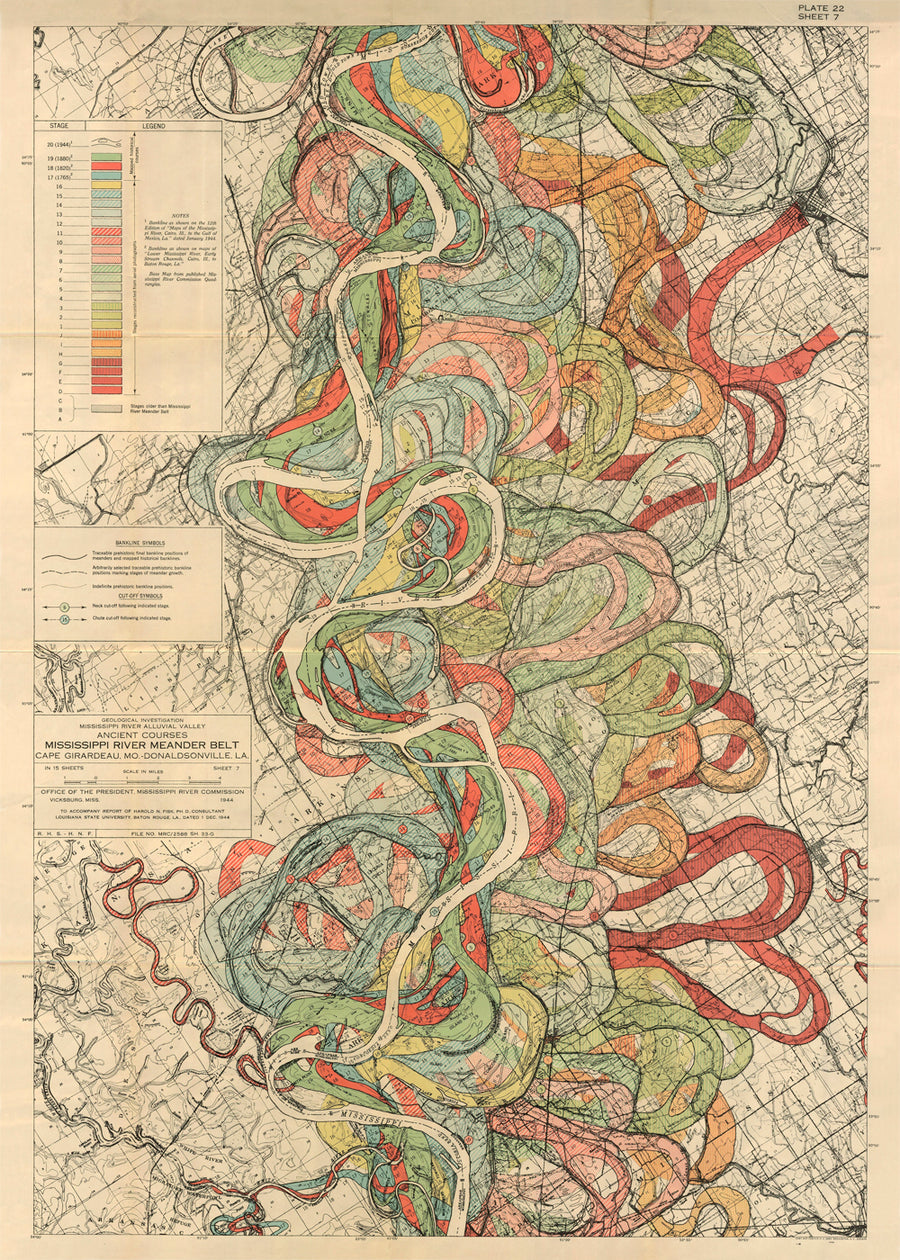 Plate 22, Sheet 7, Ancient Courses Mississippi River Meander Belt (quick-ship)