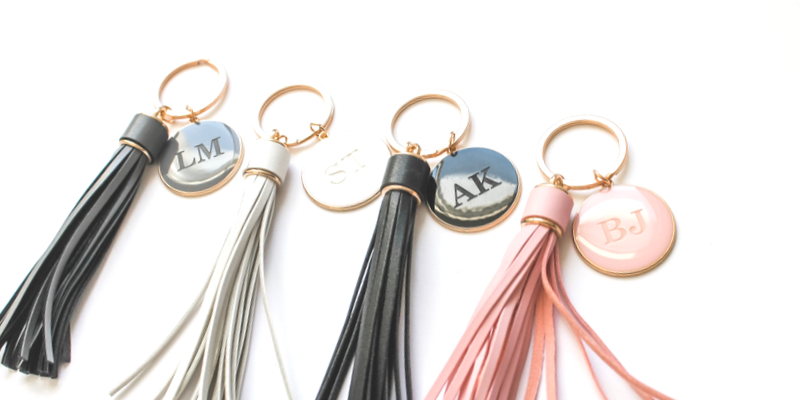 V LEATHER TASSEL PERSONALISED KEYRINGS