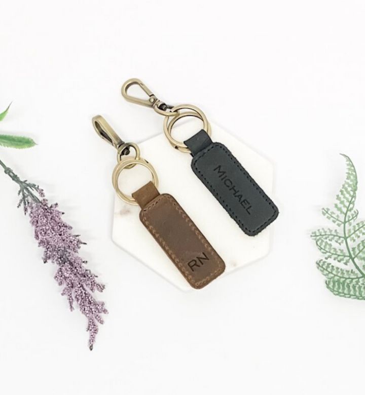 Personalised Retro Leather Keyring