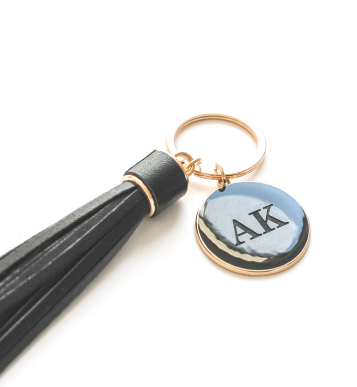 V Leather Tassel Personalised Black Keyrings