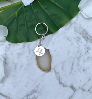 Personalised Agate Stone Charm Keychain