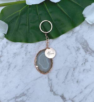 Rose Gold Personalised Agate Stone Charm Keychain