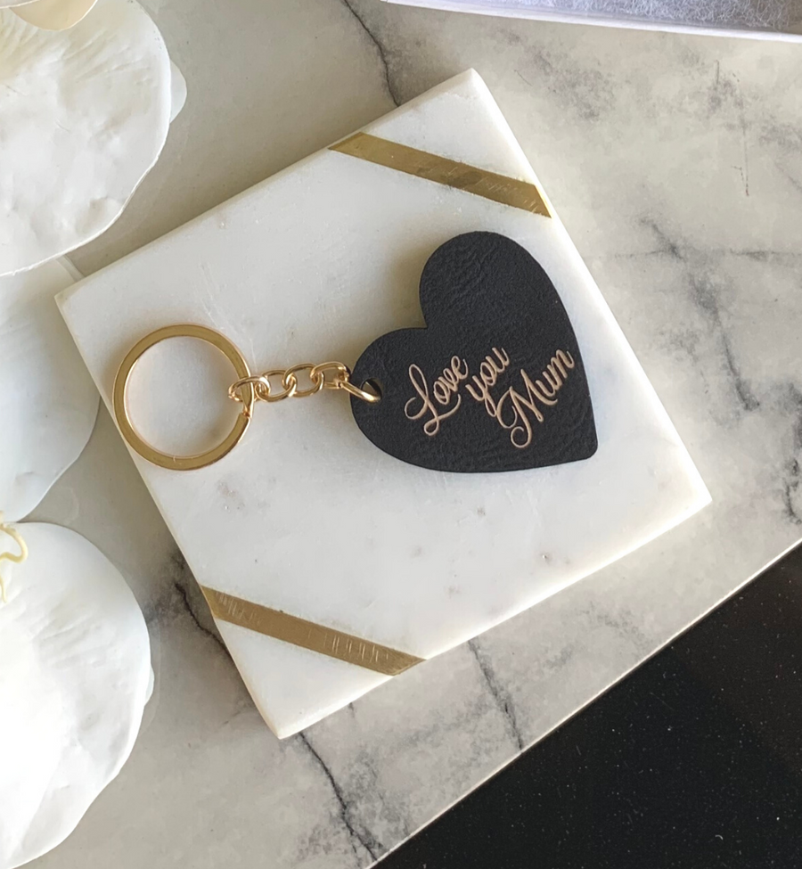 My Heart personalised Leather keyring