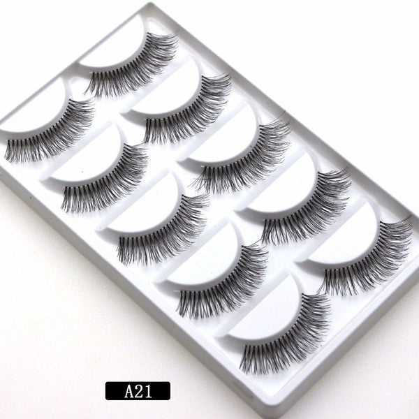 5 pairs Soft Long Makeup Cross Thick False Eyelashes Eye Lashes Nautral Handmade Hot Sale A21 Mink Fur Handmade Crossing Lashes