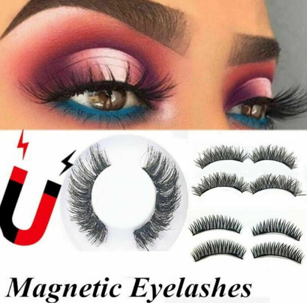3D Magnetic False Eyelashes No Glue Handmade Natural Extension Eye Lashes 4/8ps