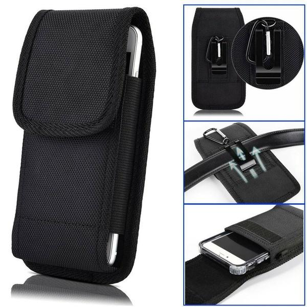 Universal Men Leather Holster Clip Pouch Phone Horizontal Waist Bag for Cellphon