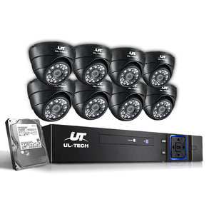 UL-tech CCTV 8 Dome Cameras Home Security System 8CH DVR 1080P 1TB IP Day Night