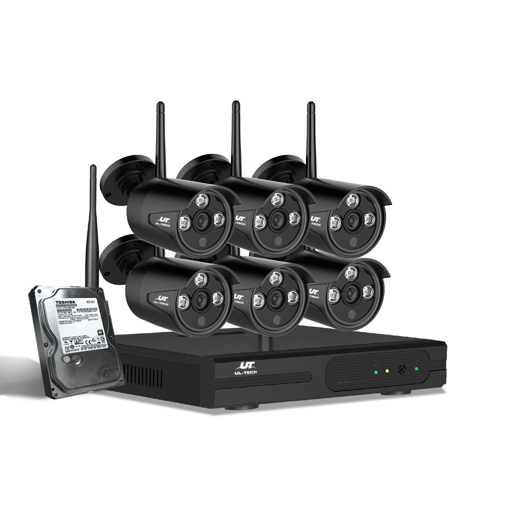 UL-Tech CCTV Wireless Security System 2TB 8CH NVR 1080P 6 Camera Sets
