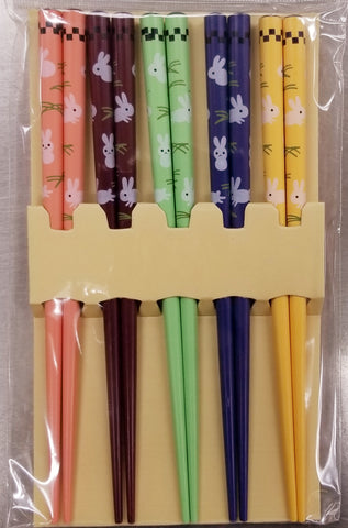 Kids Wood Chopsticks Bunny Design 5 pairs