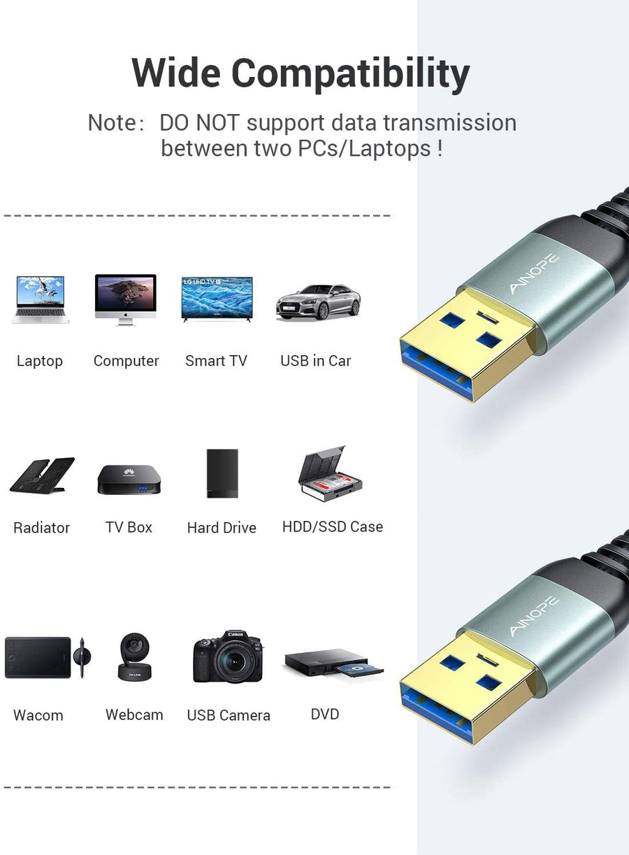 2 Pack USB A Male to Male Cable