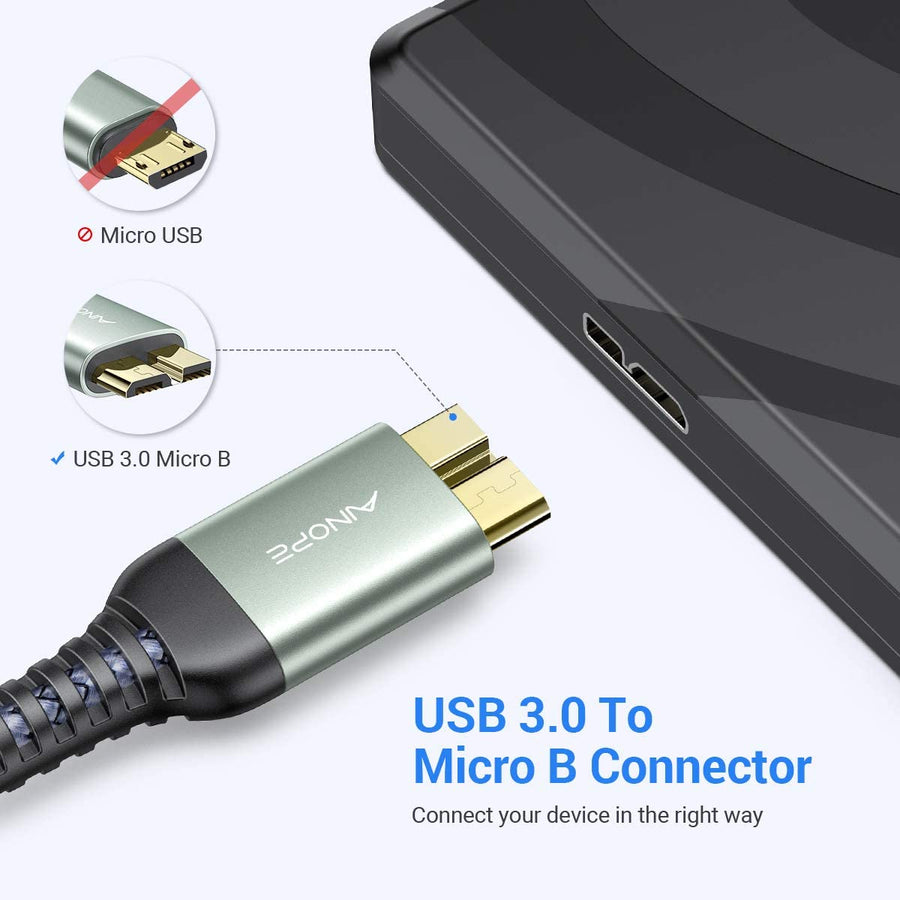 2 Pack USB 3.0 A Male to Micro B Cable