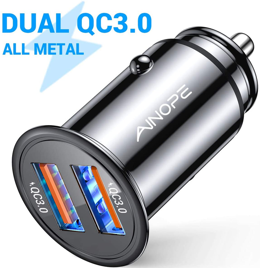 USB Car Charger Dual QC3.0 Port 36W/6A [All Metal] Fast Car Charger