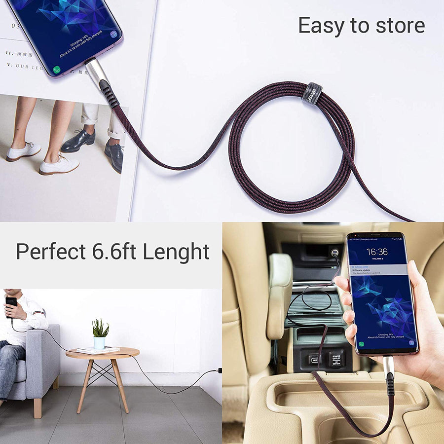 USB-A to USB-C Cable Charger Alloy Fabric Braided