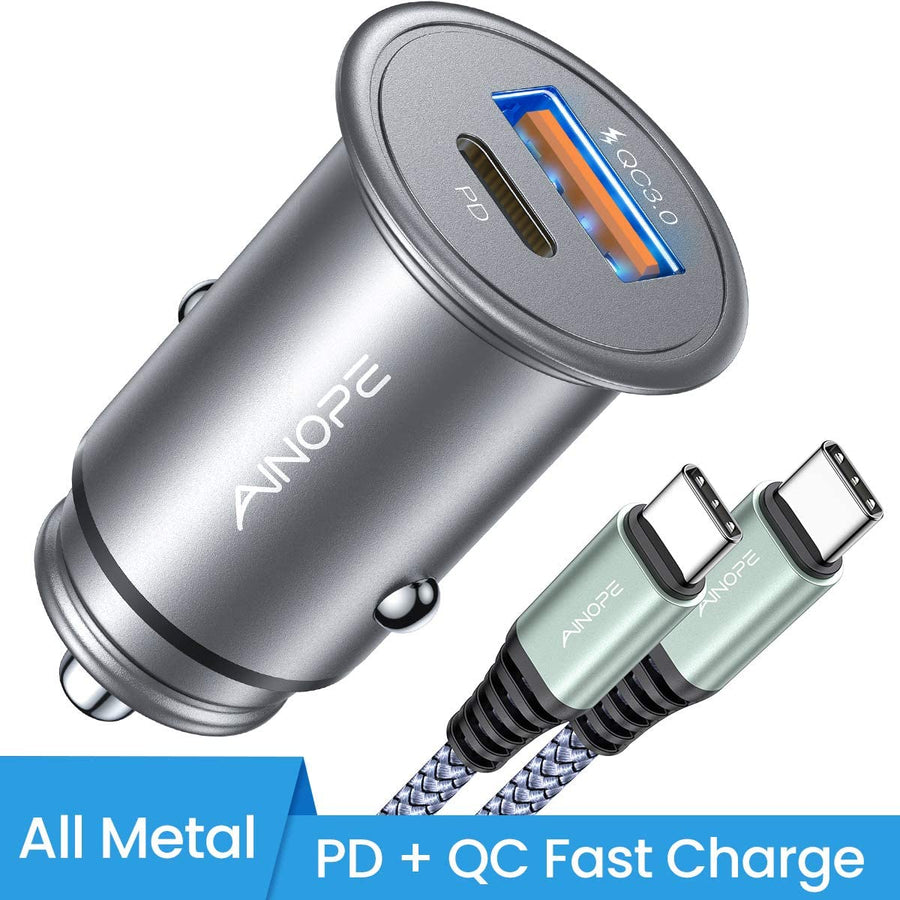 USB C Car Charger PD&QC 3.0 Dual Port Car Adapter
