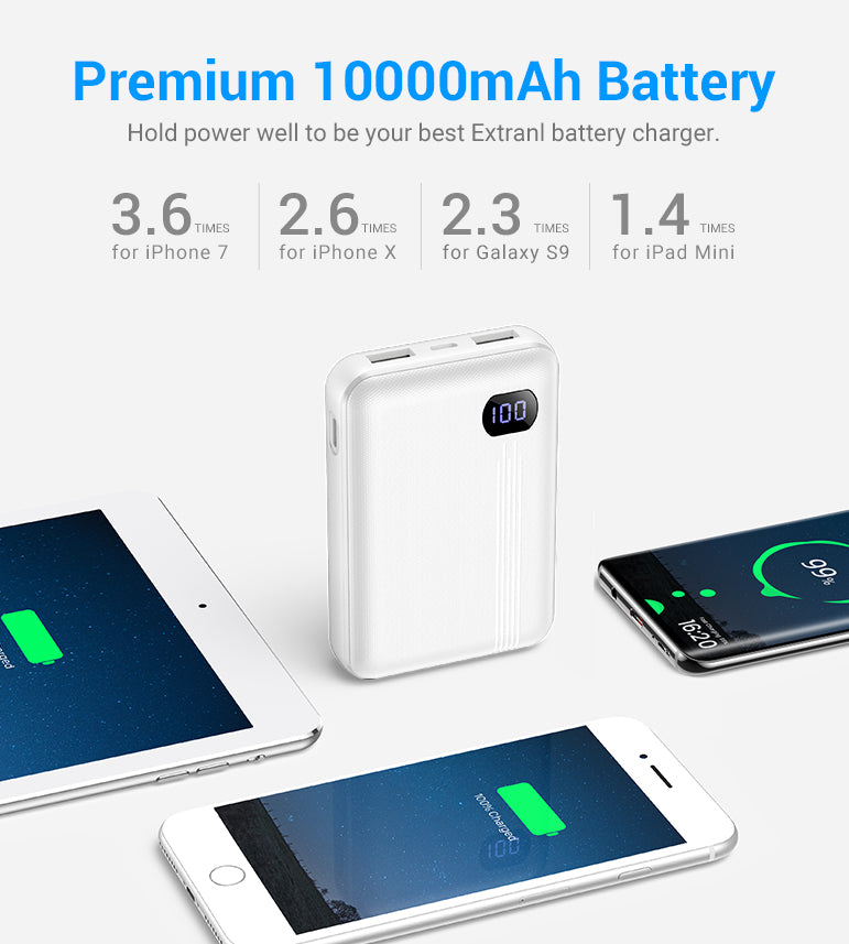 10000mAh Portable Charger With LCD Display