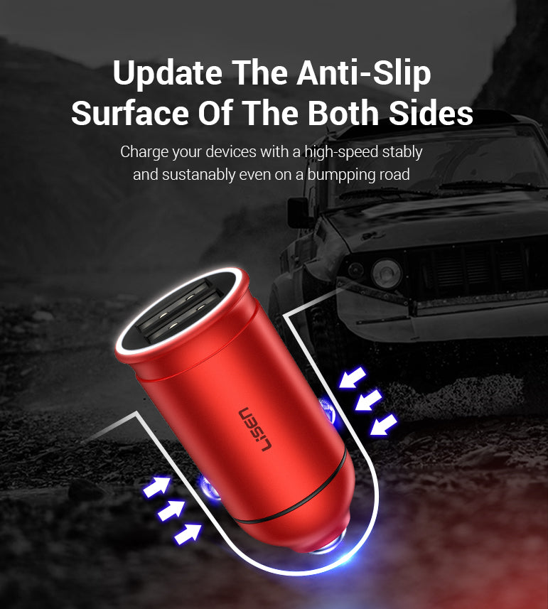 24W Car Charger With Indicator Light Voltage Display
