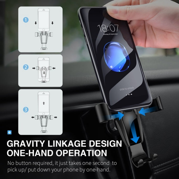 Auto-Clamping Air Vent Gravity Mount For Car