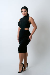 Black cut out high neck midi dress