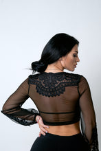 Load image into Gallery viewer, Black lace crop top TN