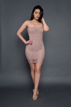 Load image into Gallery viewer, Khaki Fishnet midi dress