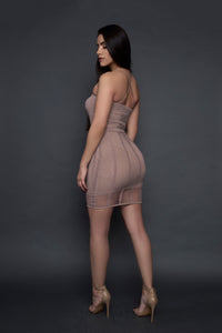 Khaki fishnet midi dress(back pose)