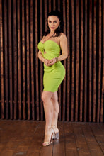 Load image into Gallery viewer, Lime green strapless bodycon dress