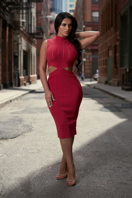 Red cut out high neck midi dress