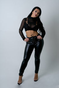 Black Faux Leather Biker Pants