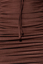 Load image into Gallery viewer, Brown Slinky Ruched Cut Out Strappy Mini Dress