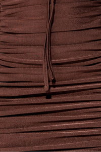 Brown Slinky Ruched Cut Out Strappy Mini Dress