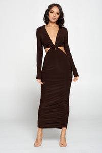 Brown cut out long sleeve dress