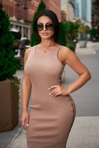 Camel Lace-Up Dress