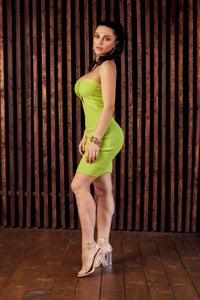 Lime green strapless bodycon dress