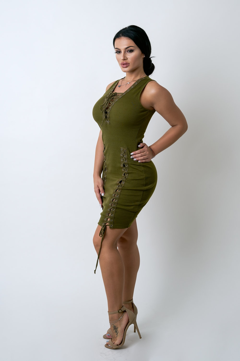 Olive Lace Up Dress