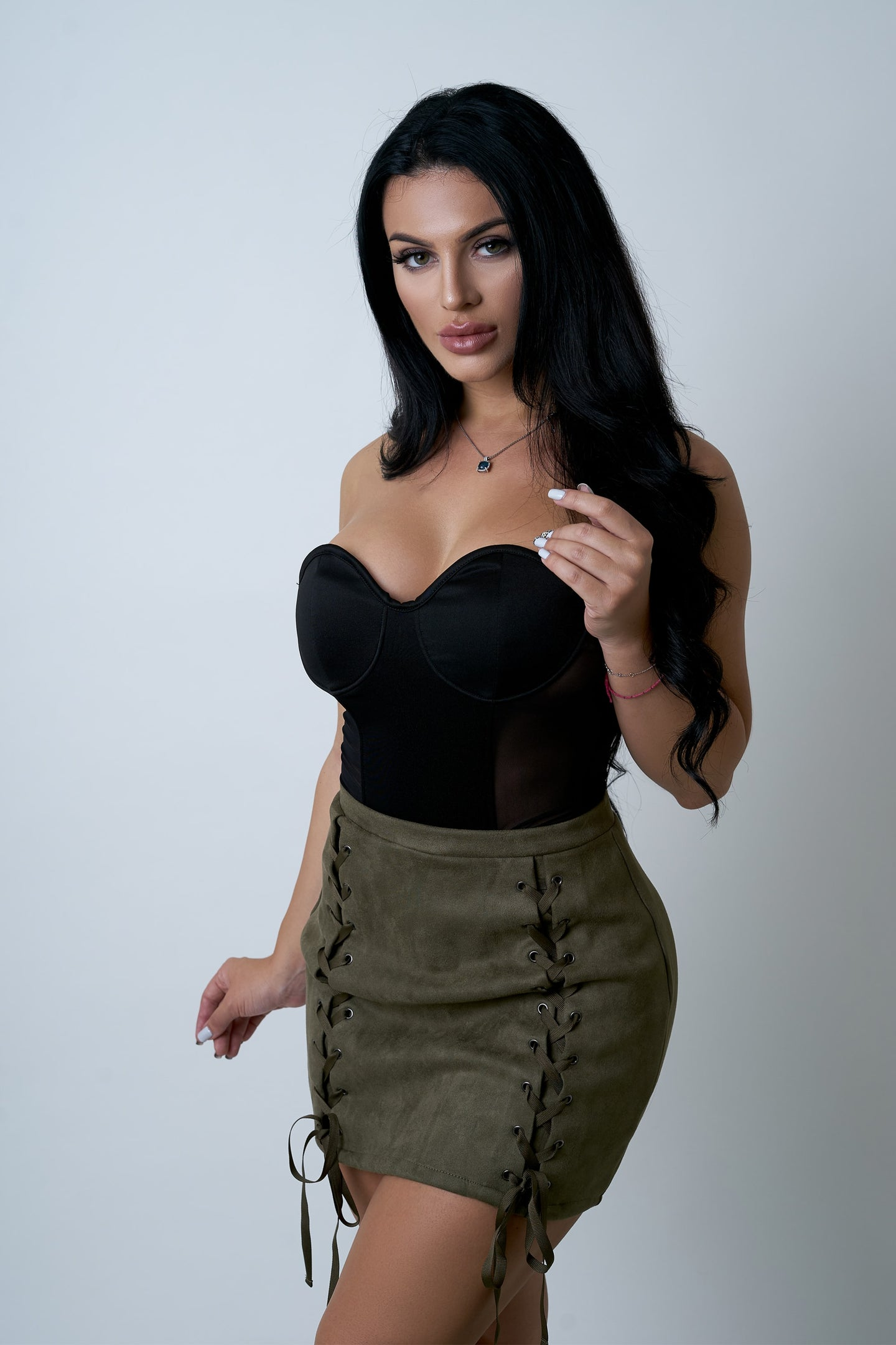Olive Lace-Up Mini Skirt