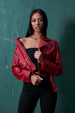 Load image into Gallery viewer, Red biker jacket