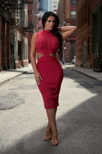 Load image into Gallery viewer, Red cut out high neck midi dress