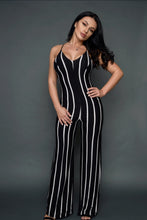 Load image into Gallery viewer, Stripe Black & White Jumpsuit