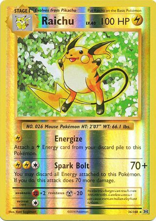 Pokemon Card XY Evolutions 36/108 Raichu Reverse Holo Rare