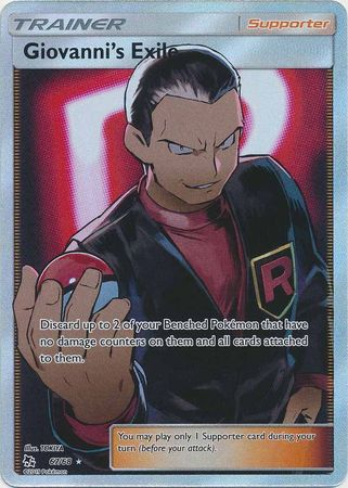 Pokemon Card Hidden Fates 67/68 Giovanni's Exile Supporter Full Art Rare