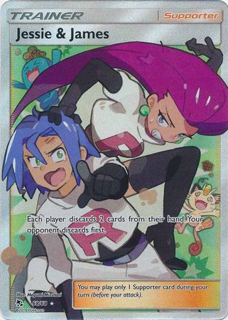 Pokemon Card Hidden Fates 68/68 Jessie & James Supporter Full Art Rare