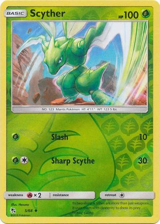 Pokemon Card Hidden Fates 5/68 Scyther Uncommon Reverse Holo