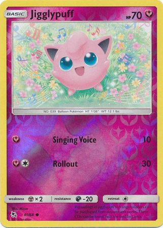 Pokemon Card Hidden Fates 41/68 Jigglypuff Common Reverse Holo