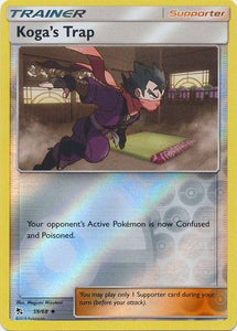 Pokemon Card Hidden Fates 59/68 Koga's Trap Supporter Uncommon Reverse Holo
