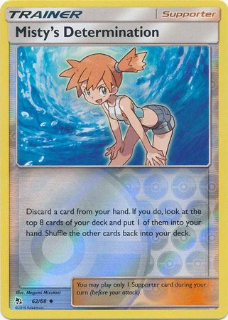 Pokemon Card Hidden Fates 62/68 Misty's Determination Supporter Uncommon Reverse Holo