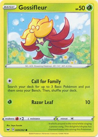 Pokemon Card Sword and Shield 020/202 20/202 Gossifleur Common